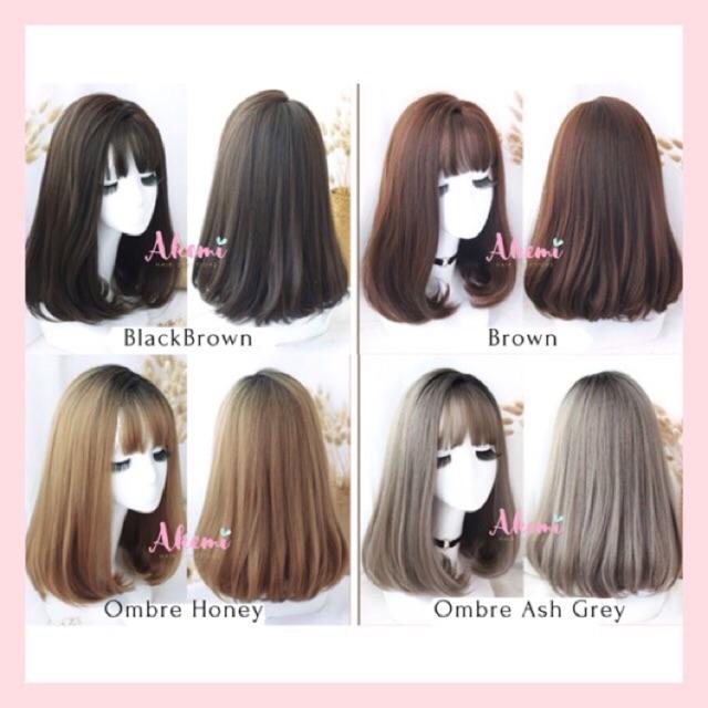 Wig Akemi Pony Tipis Korea Premium Lurus Blow Medium 40cm Wig Poni Pendek Panjang Sedang Shopee Indonesia