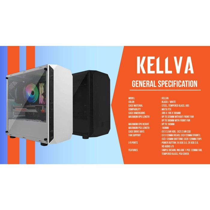 Cube Gaming Kellva Black Matx Left Side Tempered Glass Psu Cover Top Dust Filter Free 1 Pc Shopee Indonesia