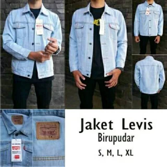 COD jaket jeans Denim levis Pria wanita Bioblitz / Biru muda size M,L,XL,&super jumbo jaket levis   Shopee Indonesia