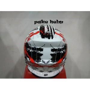 HELM GM SUPER CROSS MOTIF NEUTRON WHITE RED FULL FACE CROS Terbaik   Shopee Indonesia