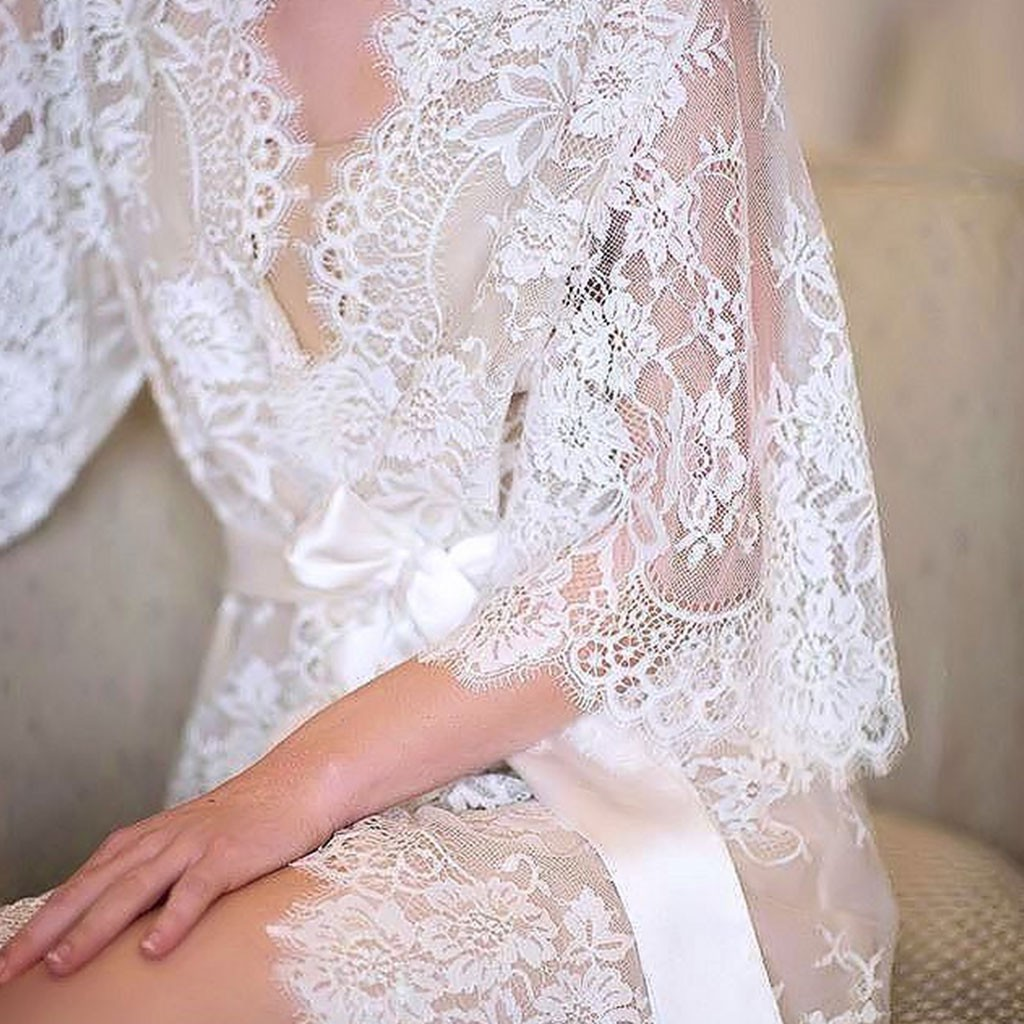 5f3d95c204ee1 Womens Eyelash Lace Sleepwear Gown Bride Wedding Lingerie Babydoll Erotic  Kimono