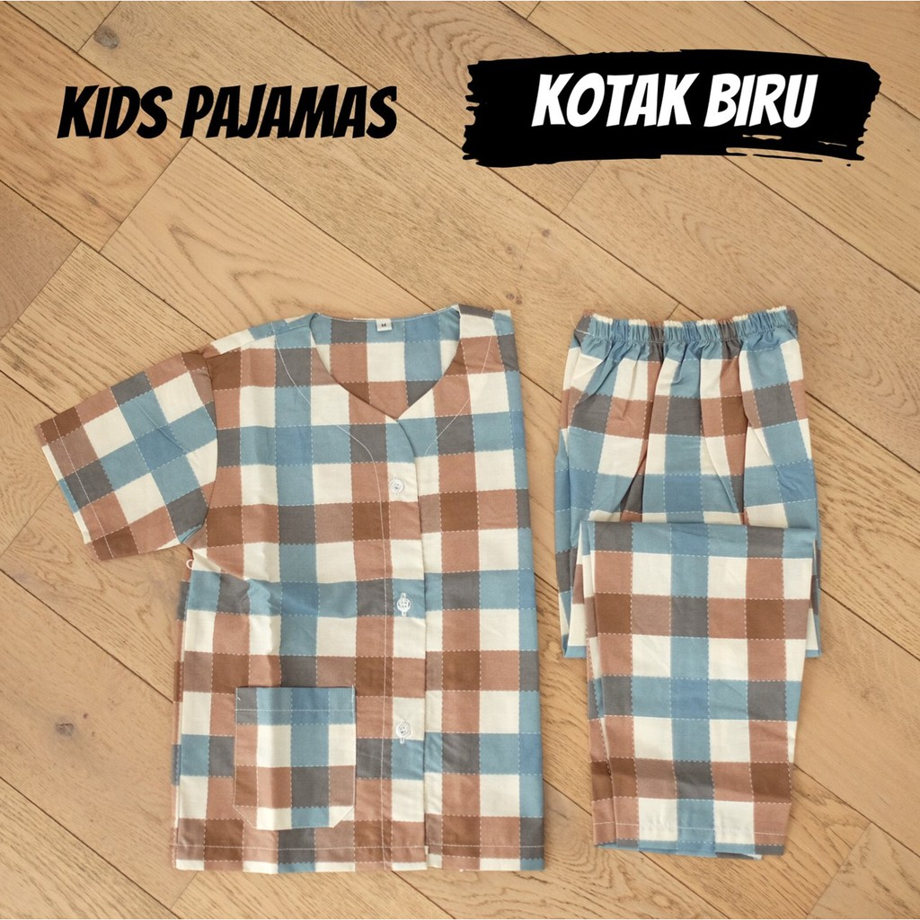 KIDS BEAR BLUE piyama anak cowok cewek kerah Y celana panjang katun catra disney lucu murah adem | Shopee Indonesia