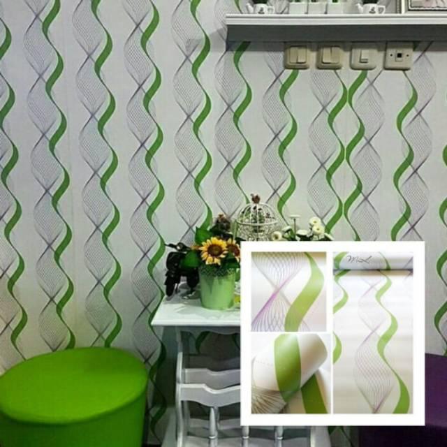 Wallpaper Dinding Motif Gelombang Hijau Shopee Indonesia