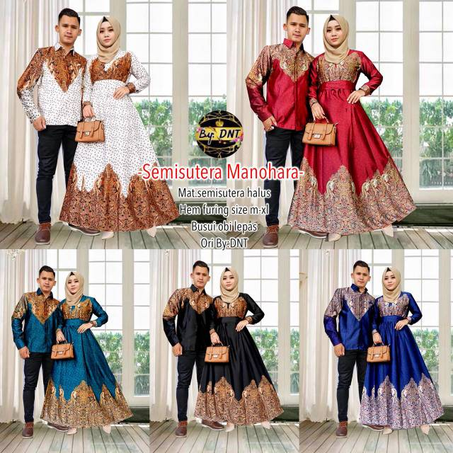 Gamis Batik Semi Sutera Batik Sarimbit Couple Kencana Ayu New ... b7611d21ec