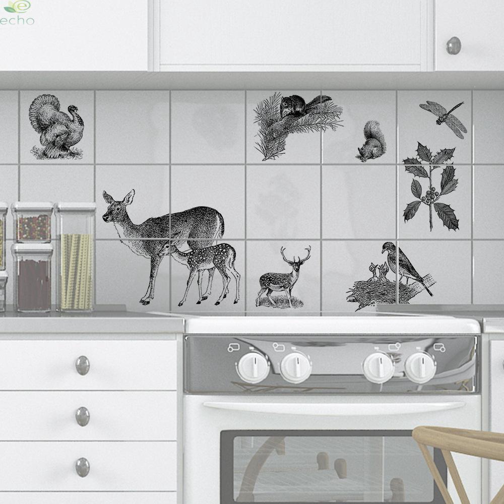 Stiker Dinding Decal Desain Sketsa Burung Dengan Perekat Bahan PVC