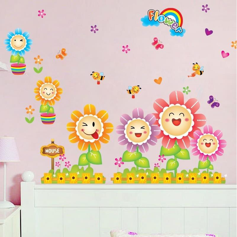 Kartun Matahari Bunga Stiker Dinding Kamar Anak Anak Tk Stiker Dinding Bayi Tidur Latar Belakang Stiker Dinding Dekoratif Shopee Indonesia
