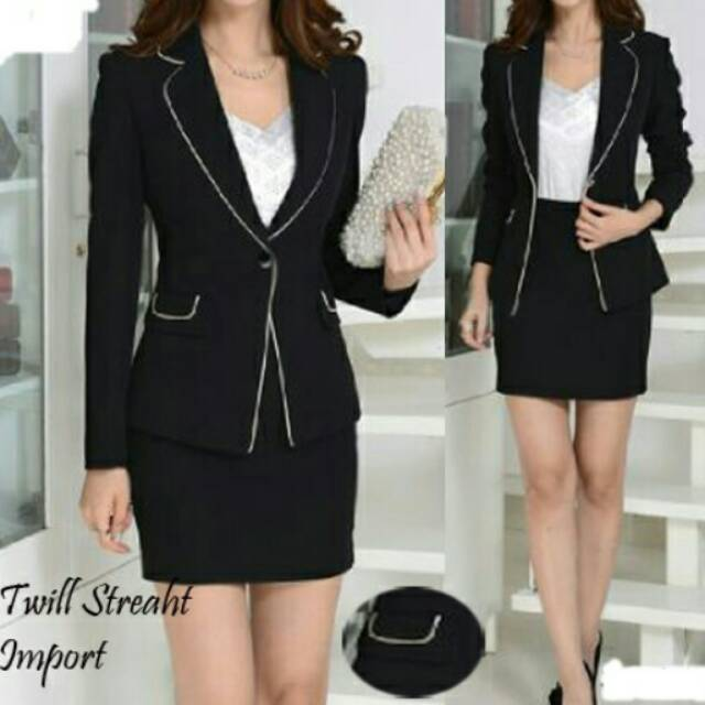 Nuevo 2018 formal mujer negro blazer vestido chaqueta