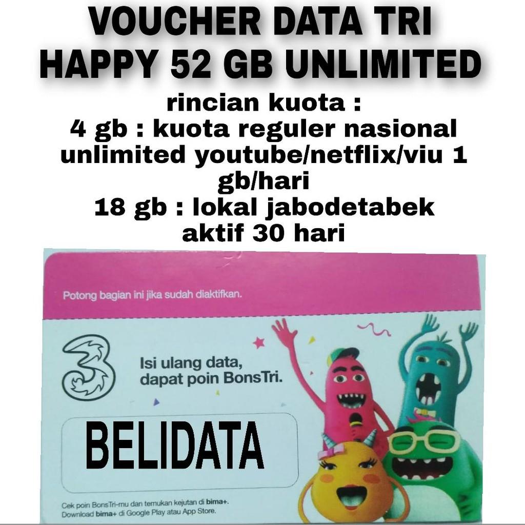 VOUCHER DATA TRI HAPPY UNLIMITED 52GB