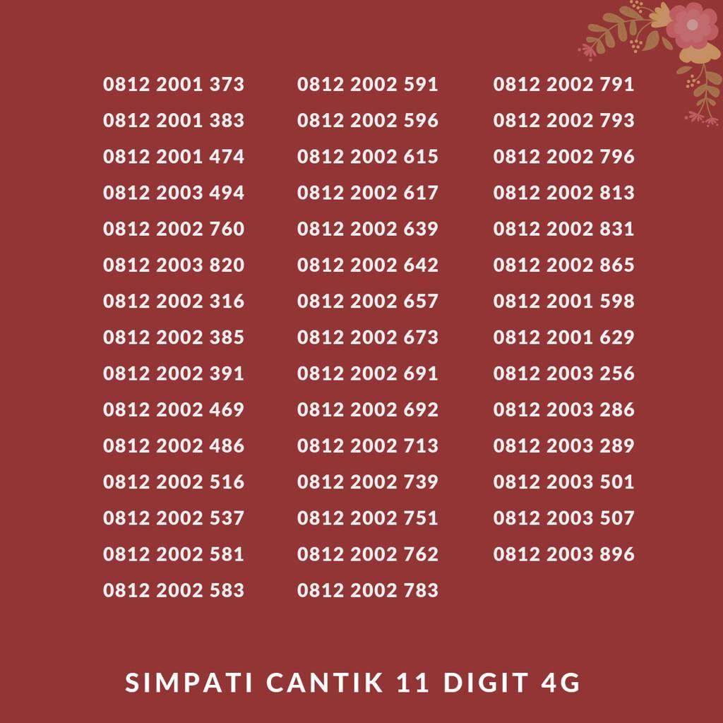 NOMOR CANTIK TELKOMSEL SIMPATI AS LOOP 11 12 DIGIT | KARTU PERDANA MURAH NOMER CANTIK |
