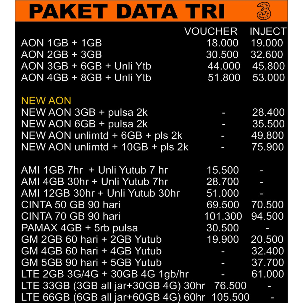 Three Kuota Tri Paket Data Tri Kuota Internet Three Three Aon Tri Get More Shopee Indonesia