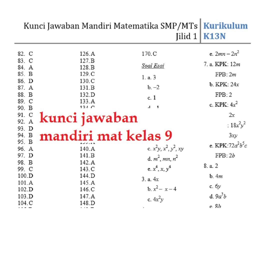 Buku Mandiri Matematika Smp Kelas 7 K13 Soal Jawaban Kurtilas Shopee Indonesia