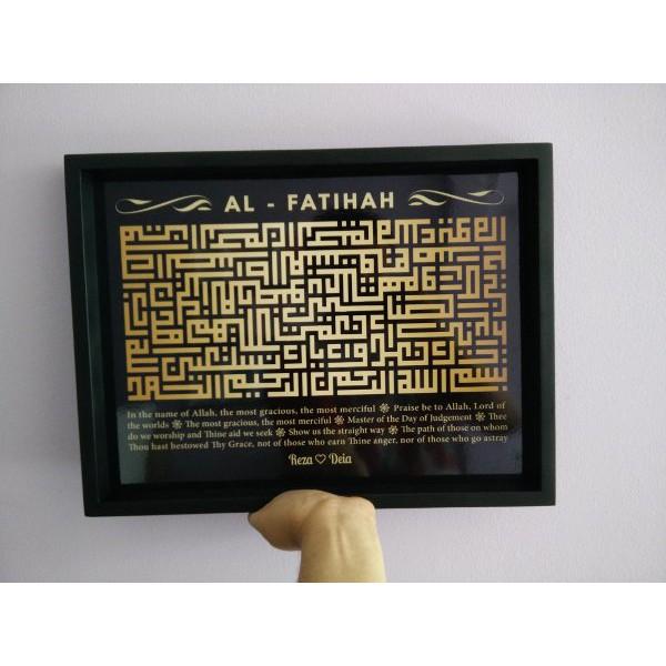 Hiasan Dinding Kaligrafi Kufi Surat Al Fatihah Black Gold Uk 30x40