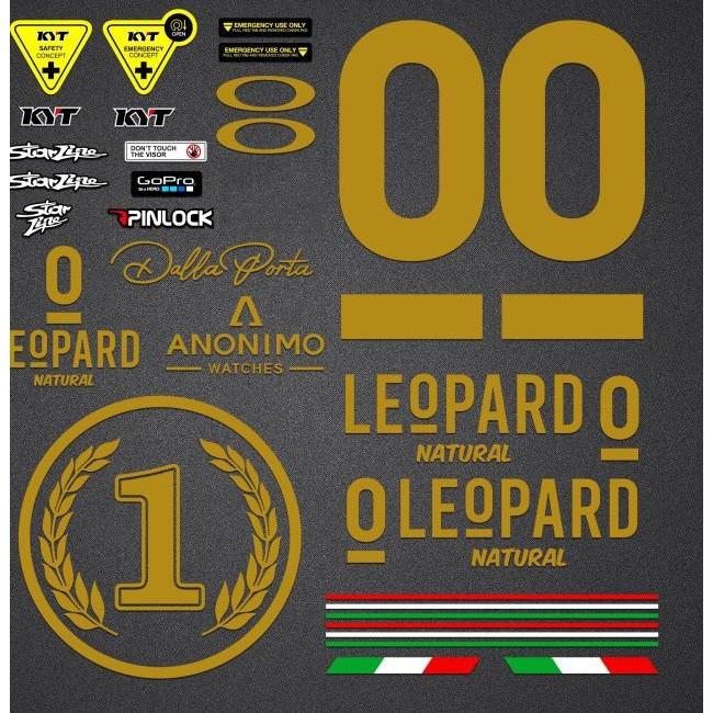 Terlaris Sticker Helm KYT Full Set Gold Leopard