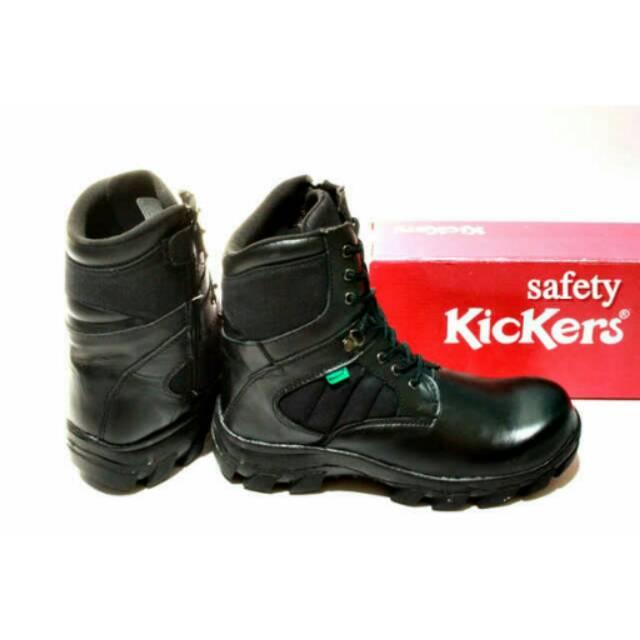 Sepatu Kickers safety boots zipper resleting hitam ujung besi ... 83149d3e70