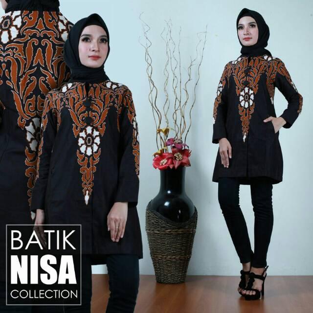 Baju Batik Blouse Tunik Atasan Wanita Bunga Keris Katun Cap Malam Etnik  ea6dfb5139