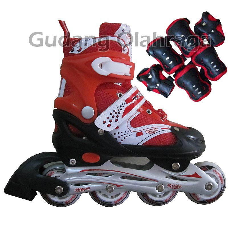 Sepatu Roda POWER SUPERB + DEKER   Inline Skate Anak dan Dewasa Satu Set  46b07c9b23