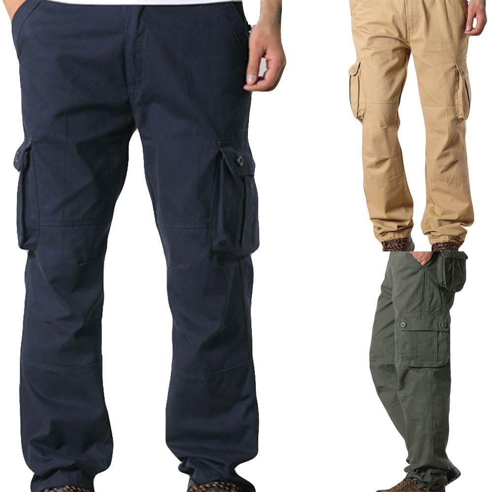 Pria Saku Overall Saku Kasual Olahraga Kerja Celana Celana Kasual
