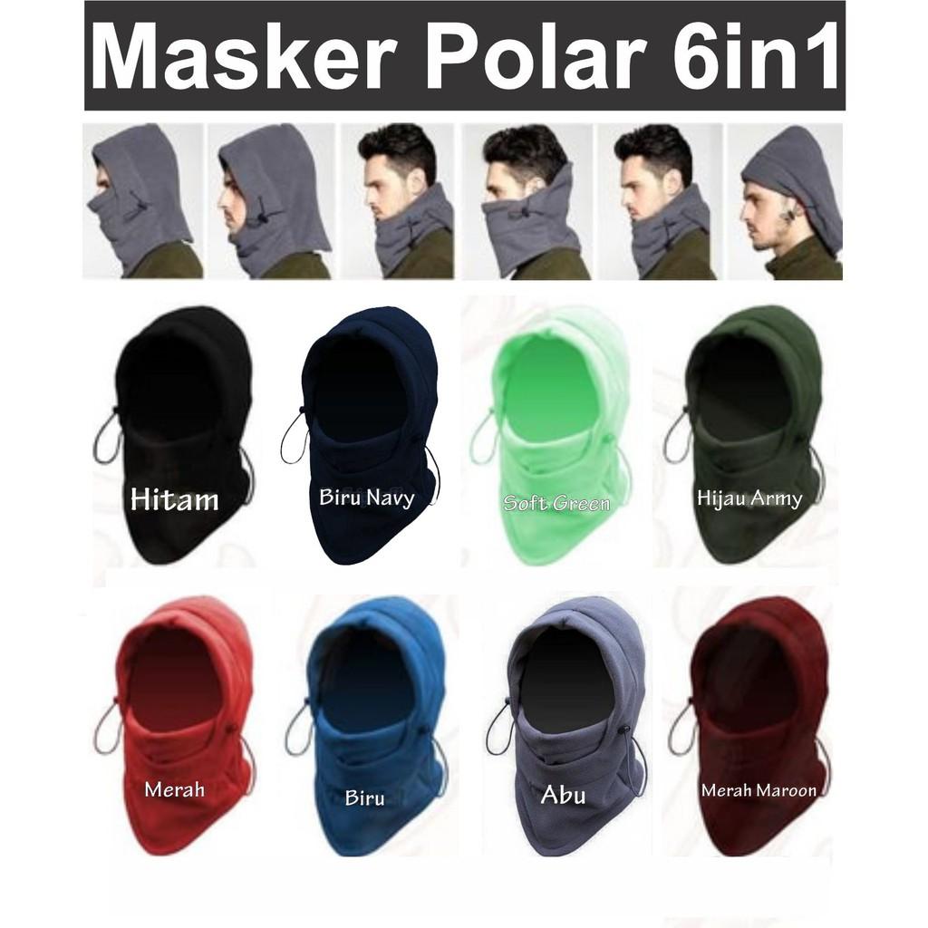 Masker Balaclava Bandana Kupluk Baff Polar 6 in 1 - Hitam | Shopee Indonesia