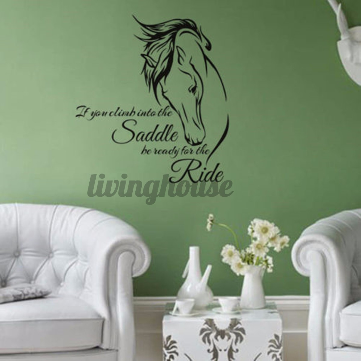 59 64cm Horse Head Wall Decal Stickers Quote Saddle Ride Living Room Wall Decals Sayings Shopee Indonesia