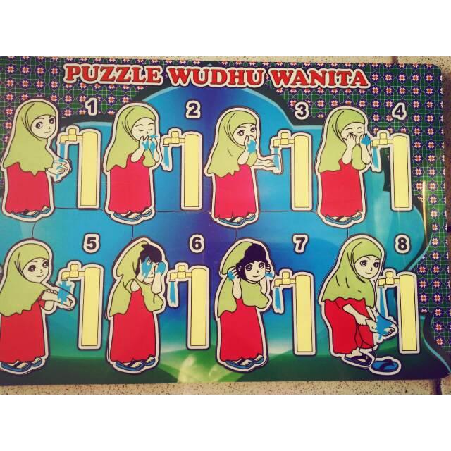 Gambar Kartun Wanita Wudhu Puzzle Urutan Wudhu Perempuan Shopee Indonesia