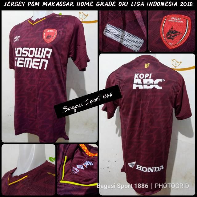 Jersey (Baju Bola) PSM Makassar Home gojek Liga 1 Indonesia 2018 Merah Marun Maroon | Shopee Indonesia