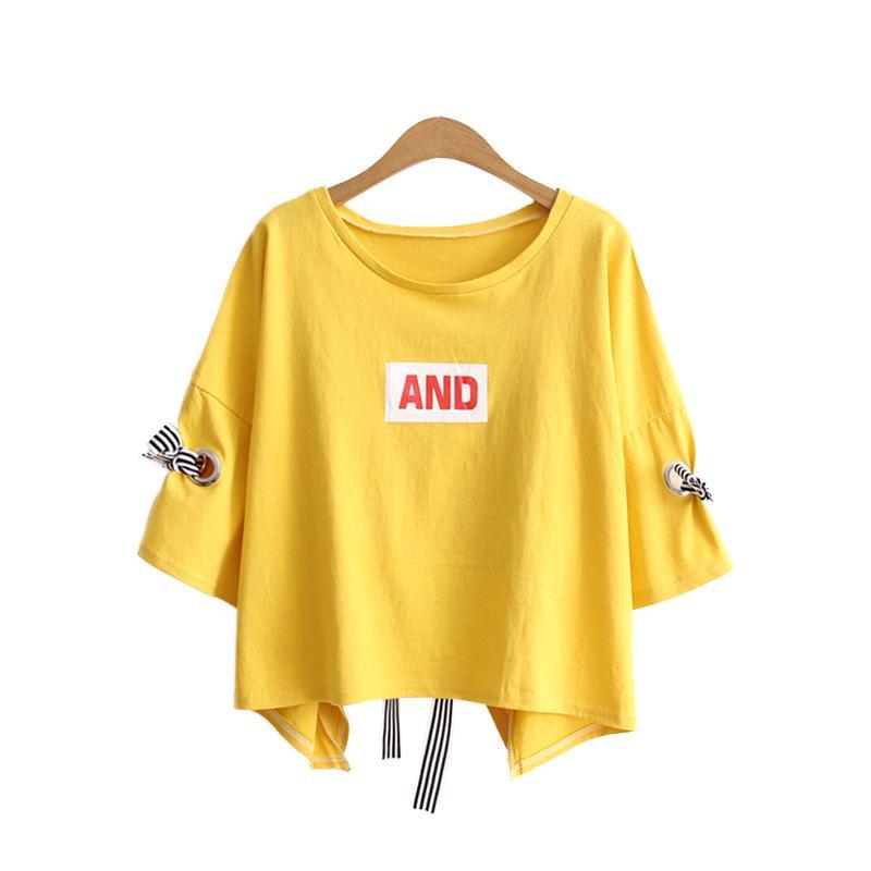 2019 Musim panas versi Korea baru dari leher bulat warna solid lima titik lengan T-shirt wanita
