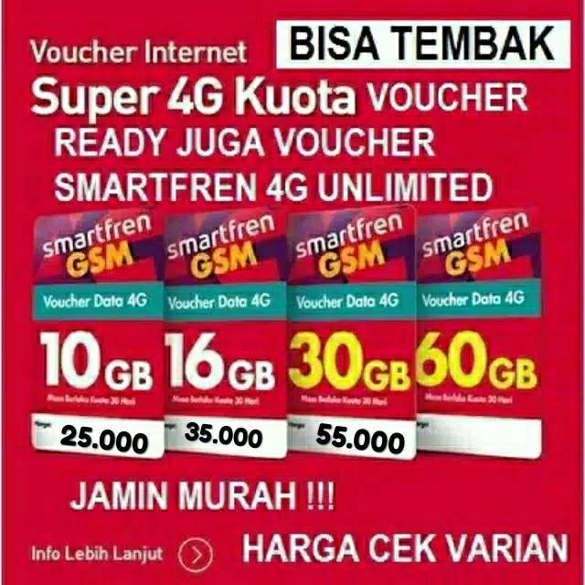 Via Chat Voucer Data Smartfren 3GB 10GB 16GB 30GB