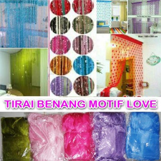 Tirai Benang Love Merk Baichuan Tirai Pintu Dan Jendela Benang Motif Love | Shopee Indonesia