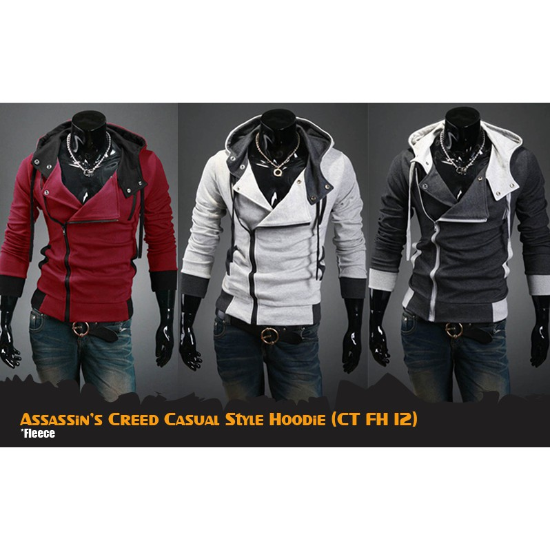 Jaket Assassin S Creed Casual Harakiri Style Gray Black Maroon Ct