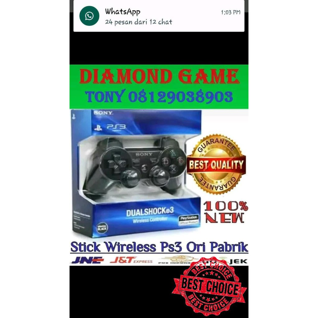Stik Ps3 Wirelles Playstation 3 Koleksi Top Shopee Indonesia Op Stick Ori Pabrik 2nd Werles