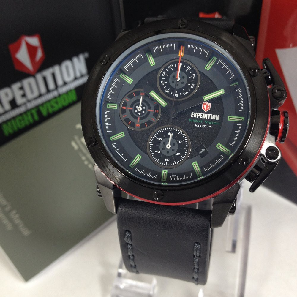 Expedition Exf 6603 Mclipbare Chronograph Man Black Dial E6339 Men Leather Brown Strap Shopee Indonesia