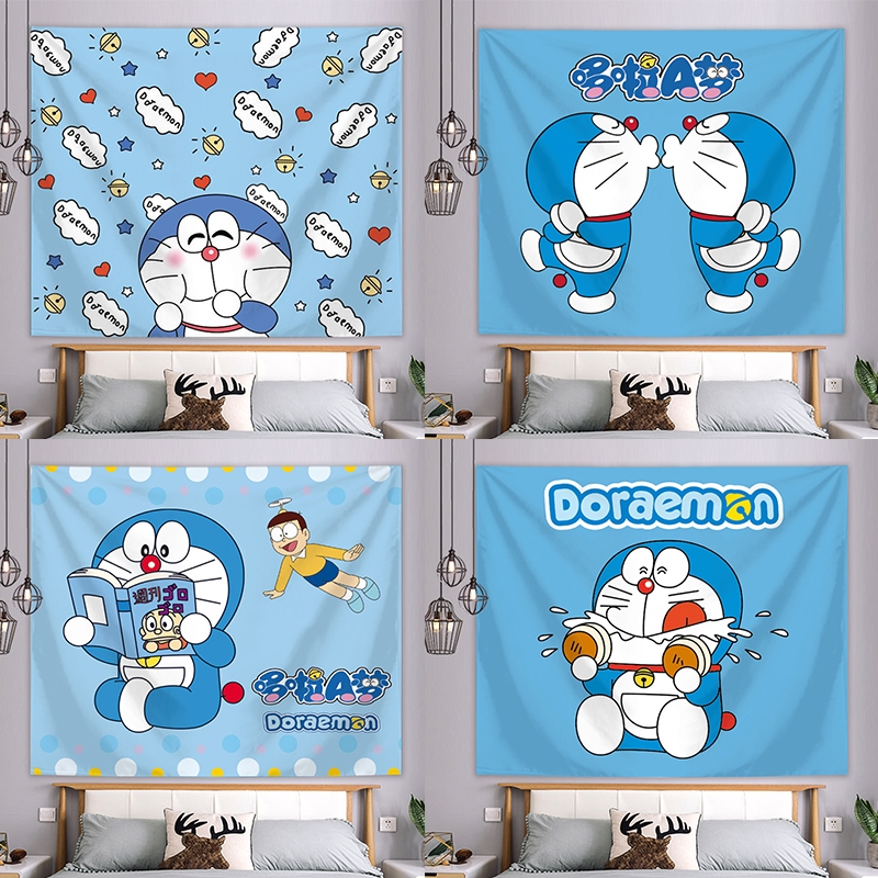 Background Decoration Doraemon Kucing Latar Belakang Kain Ins Menggantung Kain Dekorasi Kamar Tidur Shopee Indonesia