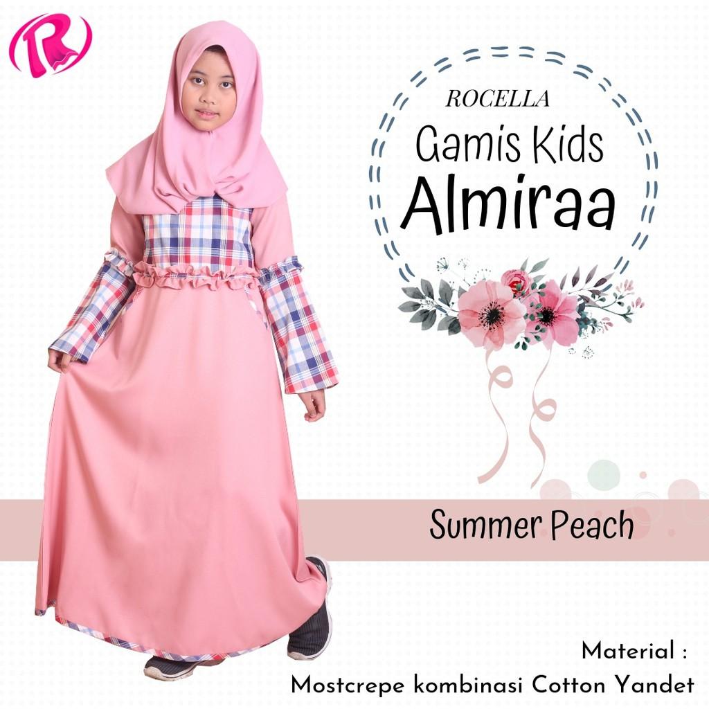 Baju muslim anak perempuan baha mosscrepe kombinasi cotton yandet ori  Rocella gamis anak almira
