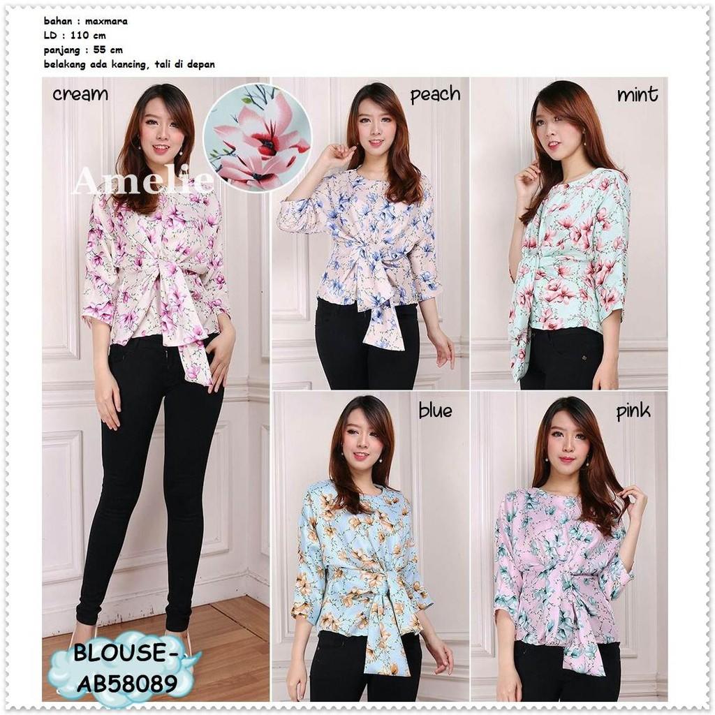 Baju Atasan Pesta Casual Blouse Korea Import AB834186 Bunga Flower ... 8e6f8d7111