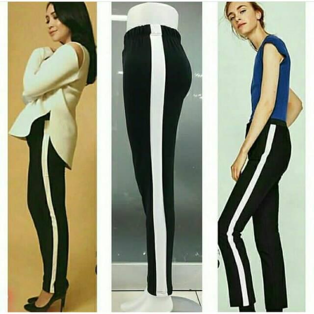 Celana Garis Putih Strip Pants Shopee Indonesia