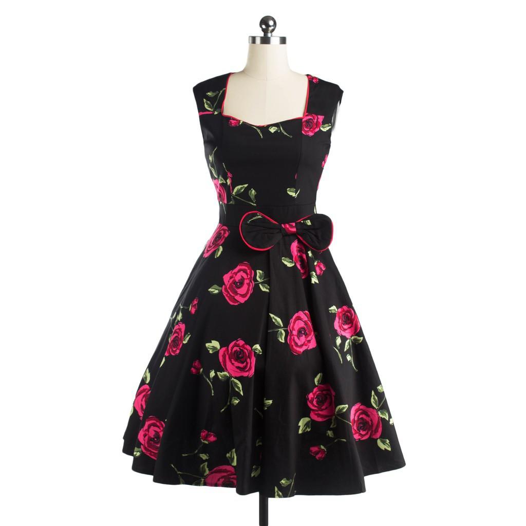 Maxi dress sifon bunga mawar