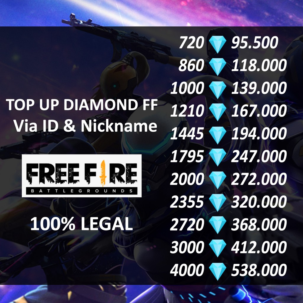 TOP UP DIAMOND FF VIA ID MURAH DAN LEGAL 100% AMAN