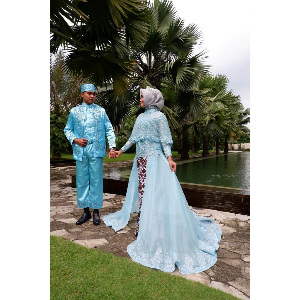 Couple kebaya pengantin frenchlace biru ekor muslimah syari modern