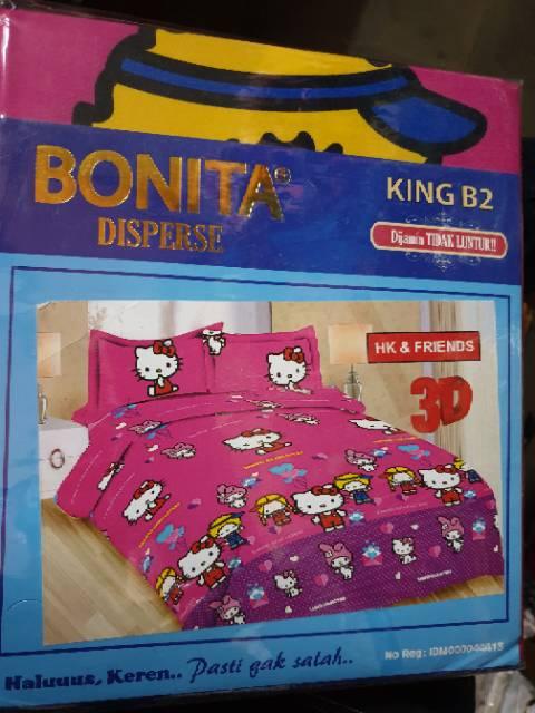 Sprei bonita karakter tayo thomas ponny smurf hello kitty minion keroppi doraemon no.1 king
