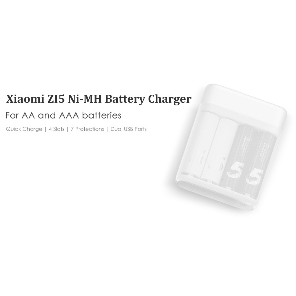 Original Xiaomi ZI5 USB Rechargable Battery Charger with 4 slots | Shopee Indonesia