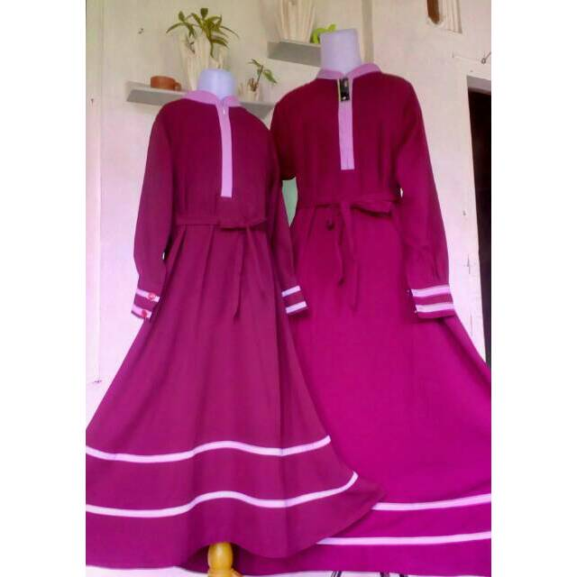 Set Gamis Syar I Couple Warna Maroon Kombinasi List Pink Murah