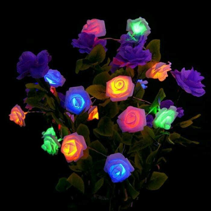 Lampu Antik Malam Bunga Mawar Elektrik Led Kembang Artifisial Palsu Lampu Tidur Keren Shopee Indonesia