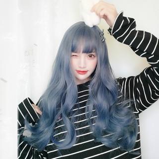 Wig Wanita Korea Air Bangs Hitam Rambut Panjang Keriting Wig Gelombang Besar Long Curly Wig Cosplay Wig thumbnail