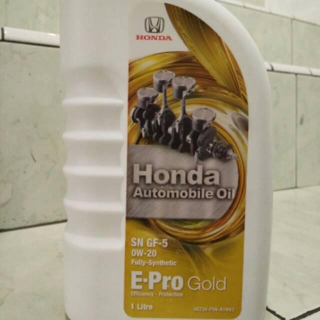 Oli Mobil Honda Automobile Oil SAE 0W-20 E-Pro Gold API SN GF-5 Fully Synthetic 1L | Shopee Indonesia