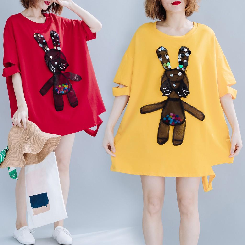 Kaos T Shirt Wanita Dengan Model Potongan Longgar Dan Hiasan Bordir Gambar Kartun Kelinci