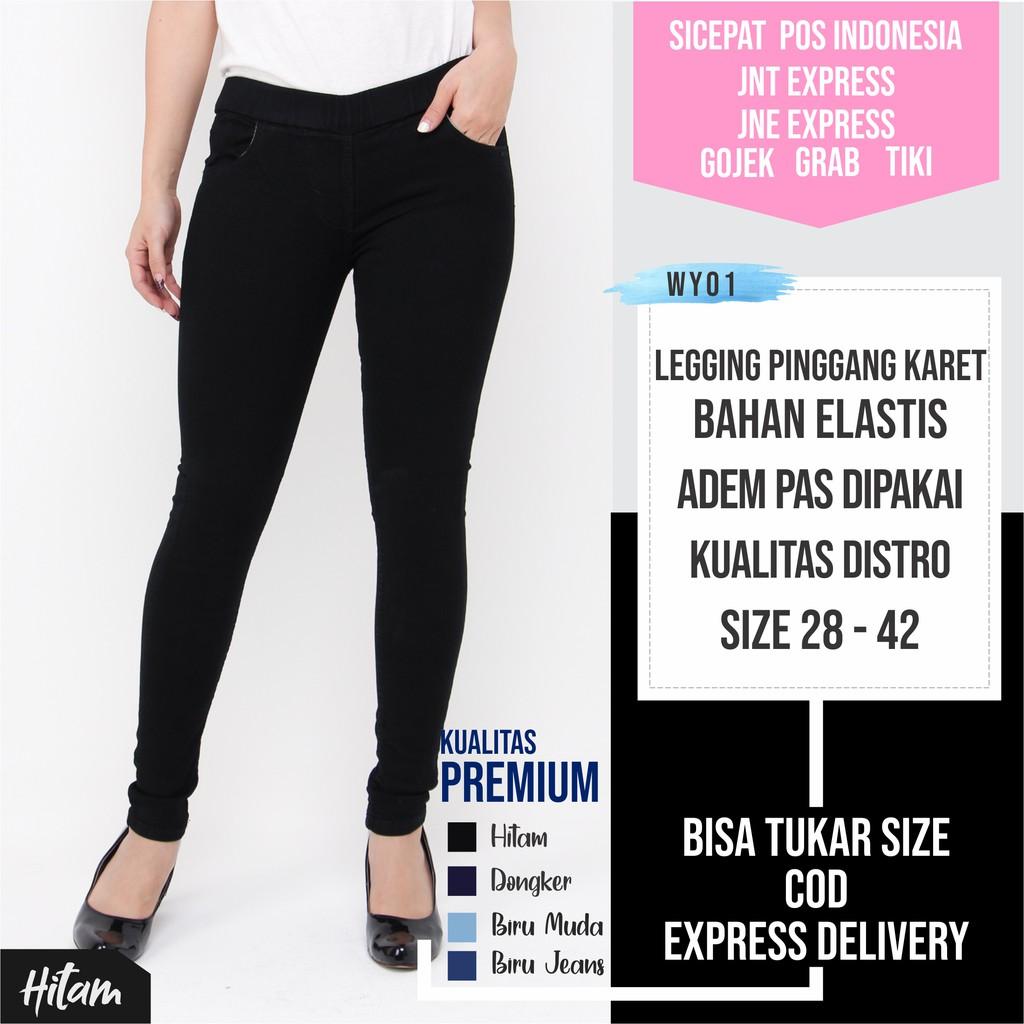 Celana Leging Wanita Celana Pinggang Karet Hitam Celana Legging Wanita Wy01 Shopee Indonesia
