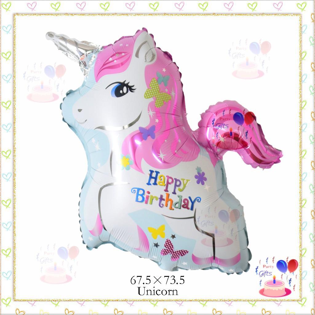 Balon Unicorn Happy Birthday Pink Kuda Little Pony Kartun Karakter Shopee Indonesia