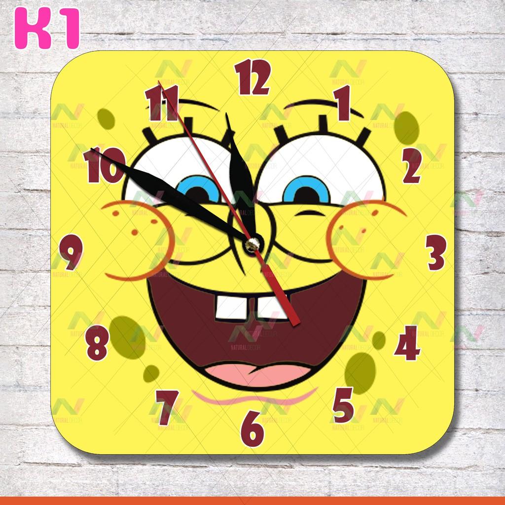 K1 Jam Dinding Karakter Unik Model Kotak Motif Kartun SpongeBob 25cm