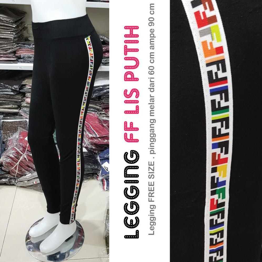 Kode 8546 Legging Fendi Ff Legging Wanita Legging Lis Fendi Shopee Indonesia
