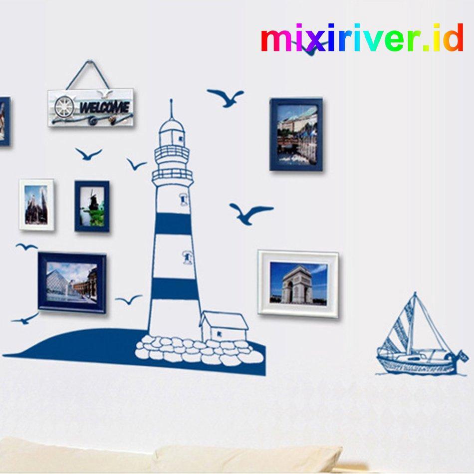 Ay008 Stiker Dinding Dengan Bahan Mudah Dilepas Dan Gambar Burung Camar Warna Biru Untuk Dekorasi Rumah
